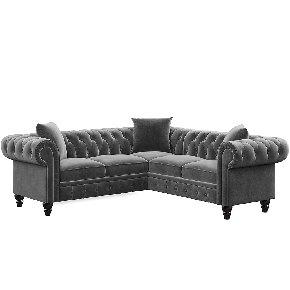 "80"" L-shaped Velvet Upholstered Sofa Chesterfield Design with Roll Arm and 3 Pillows Suitable for Five People - Gray"