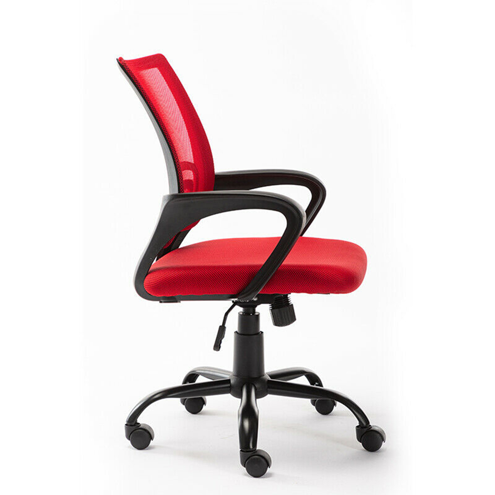 Home Office Mesh Swivel Chair Adjustable Height with Armrests and Ergonomics Backrest - Red