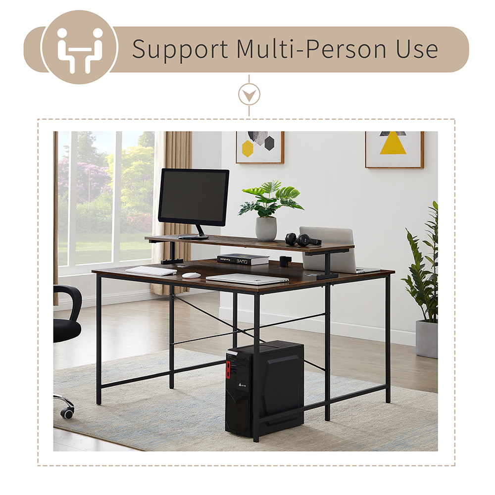 "Home Office 47"" Dual Person Computer Desk with Display Riser, Face-to-face Use - Brown"