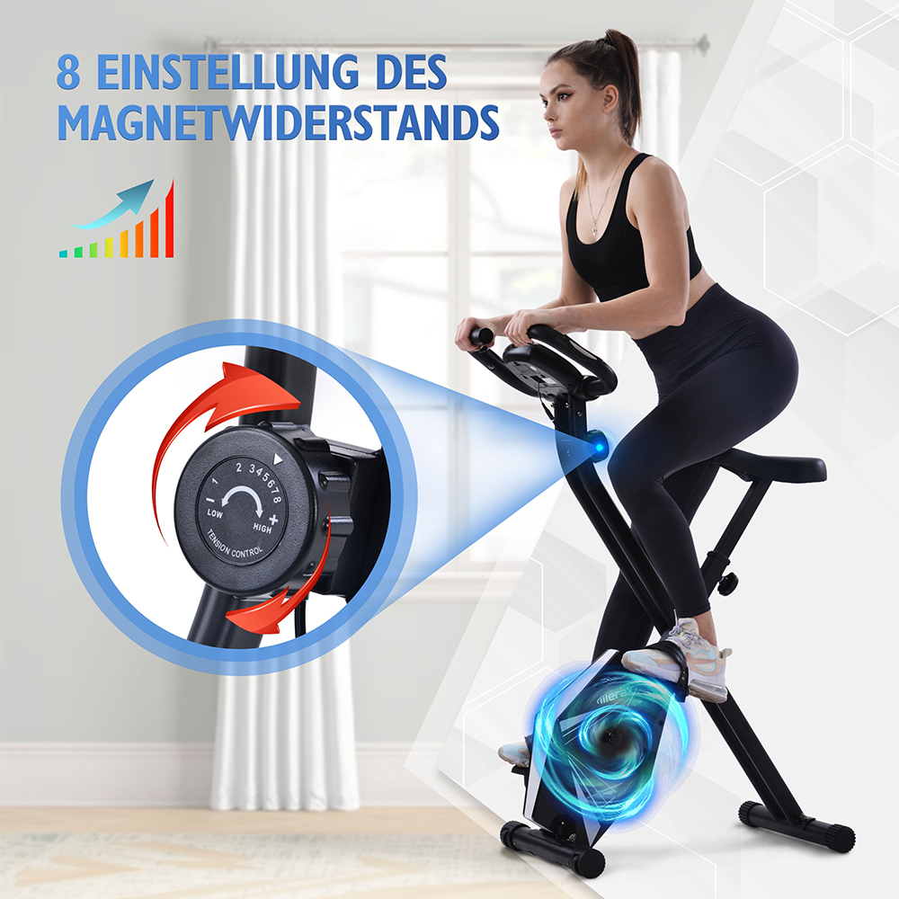 Merax Indoor Exercise Folding Bike with Adjustable Seat 8 Resistance Levels Fitness Bike with Hand Pulse Sensors and LCD Display - Black
