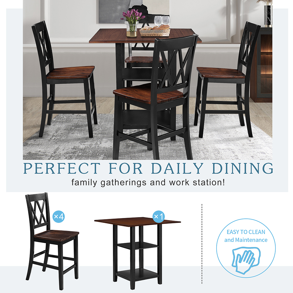 TOPMAX 5 Pieces of Rubber Wood Dining Set, with Double-layer Shelves & 4 * Matching Chairs - Black