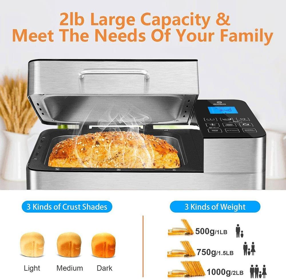MOOSOO MB30 Stainless Steel Smart Bread Machine 2LB Capacity 600W Power 25 Programs Digital Touch Screen Control Home DIY Used to Make Whole Wheat Bread, Gluten-Free Bread, Yogurt - Silver
