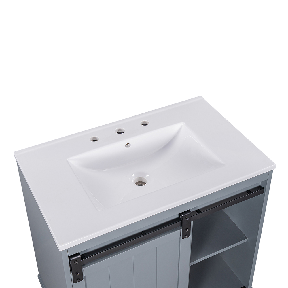 Free-Standing Bathroom Storage Cabinet with Sliding Door and Sink - White
