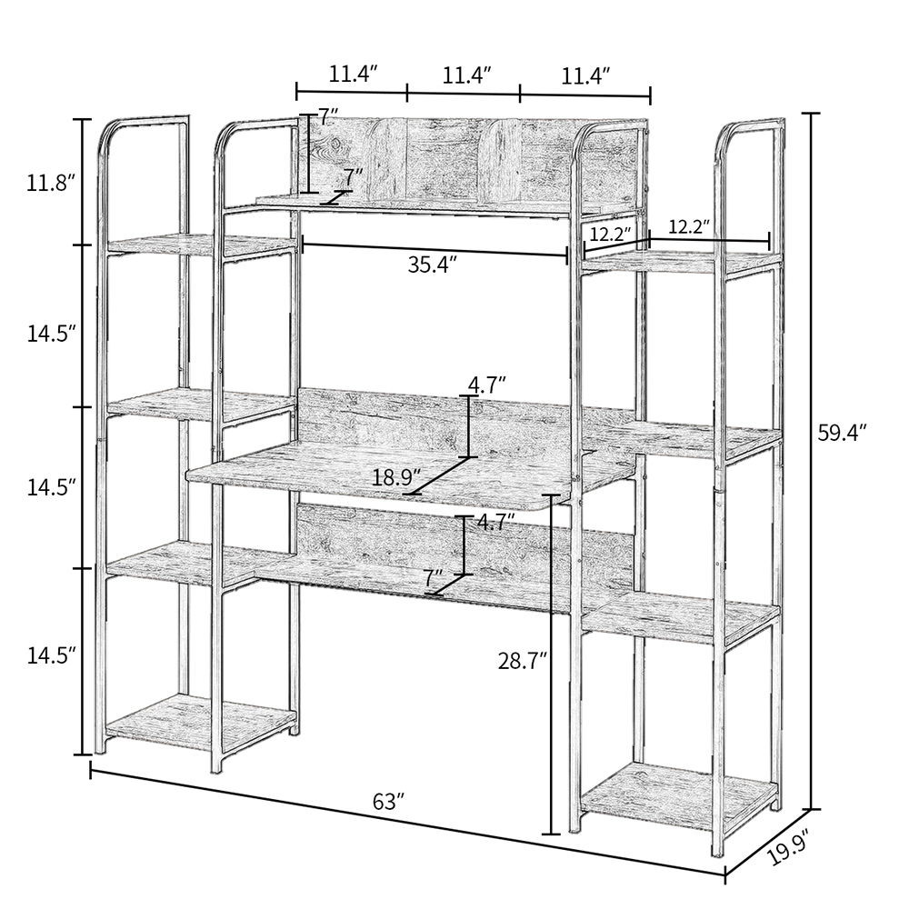 Home Office Computer Desk with Two Four-layer Shelves and Two Partitions - Tiger