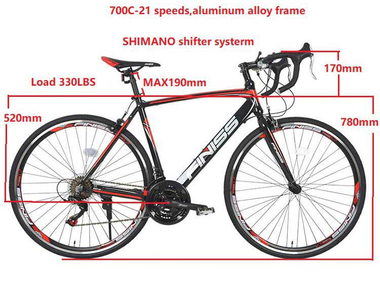 "Finiss Road Bike Aluminum 700"" 28C 21 Speed Red"