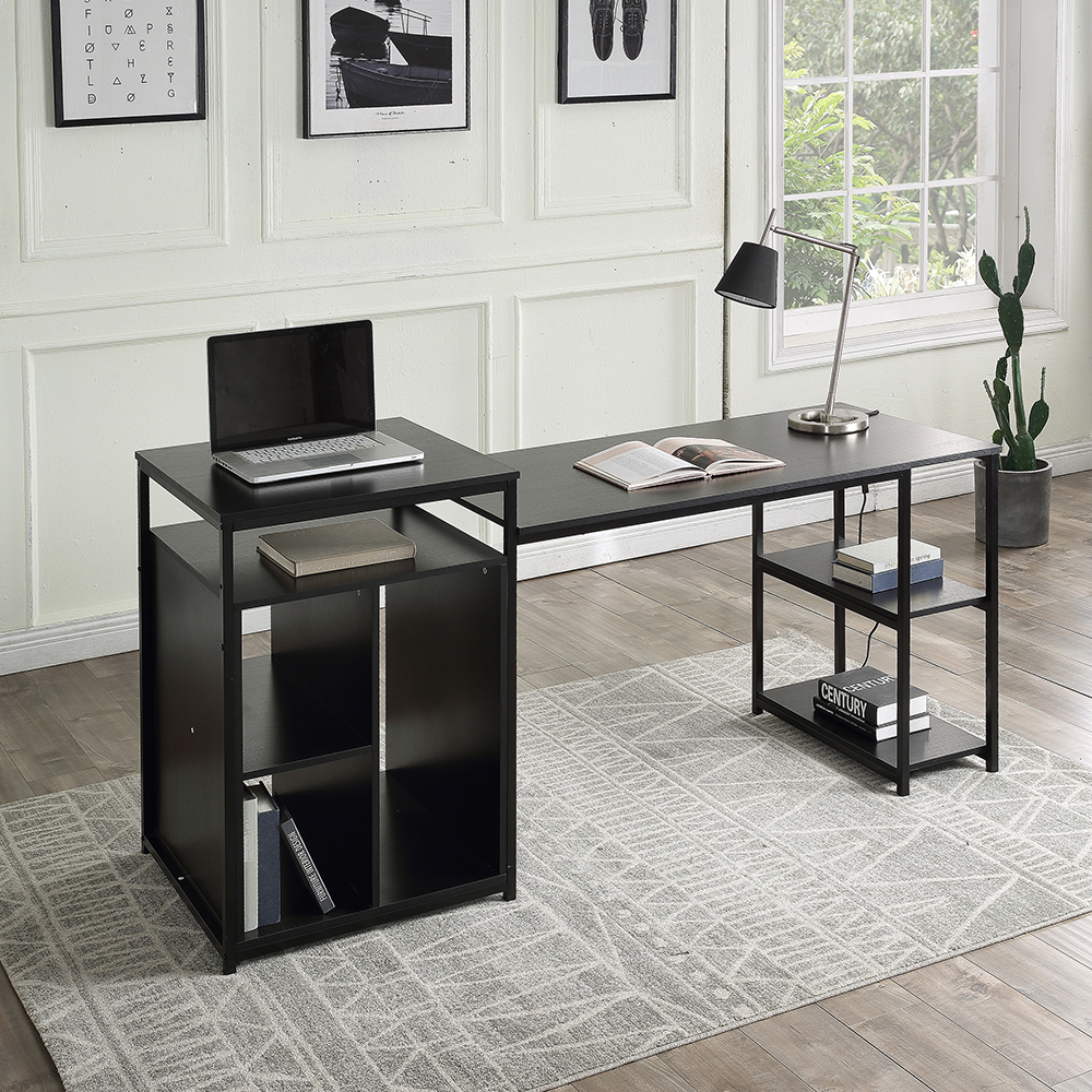 Home Office Computer Desk with 2-layer Storage Shelf & CPU Storage Space - Black