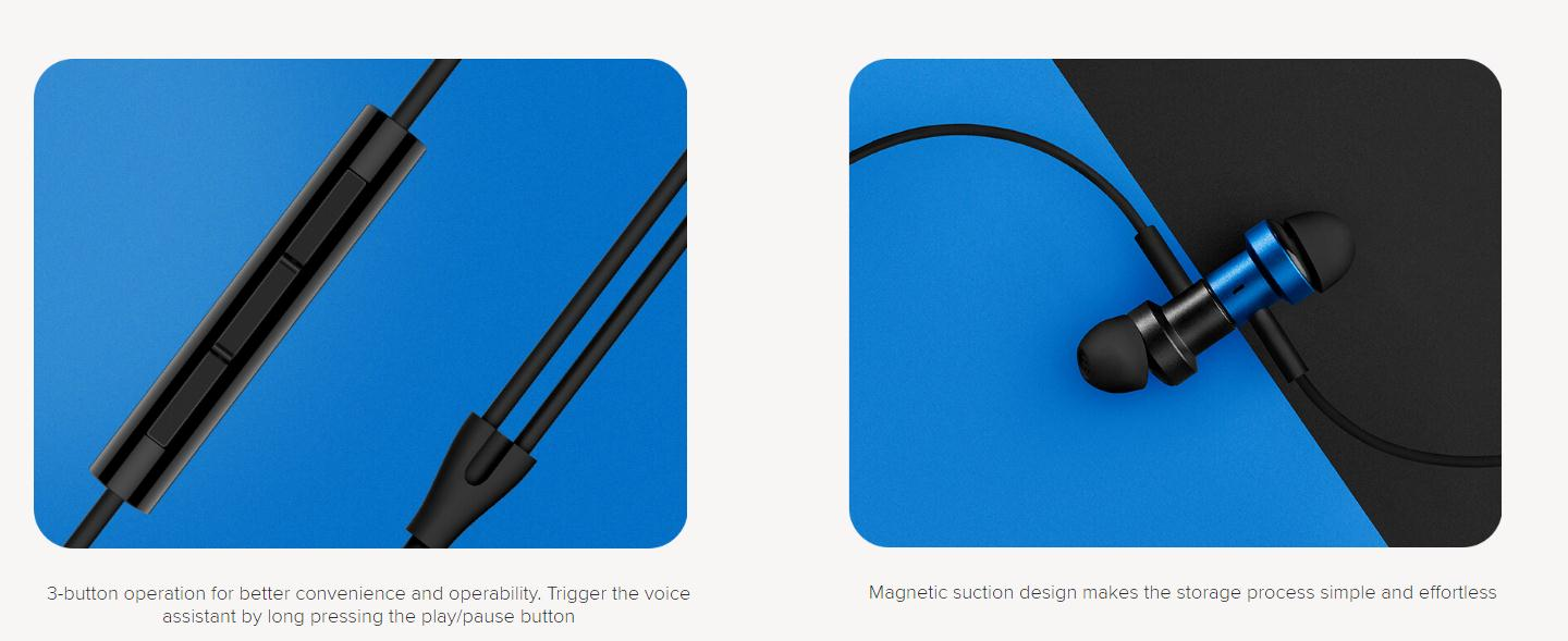 Xiaomi 3.5mm Dual Dynamic Drivers Earphones HiFi Deep Bass Wired Control Magnetic Earbuds with Mic - Blue