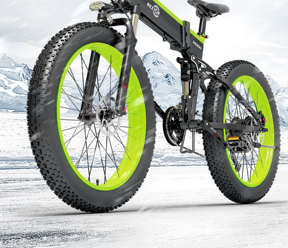 BEZIOR X1000 Folding Electric Bike Bicycle Panasonic 48V 12.8Ah 1000W Motor 26 inch Fat Tire Aluminum Alloy Frame Shimano 27-speed Shift Max Speed 40km/h IP54 100KM Power-assisted mileage Range LCD Display IP54 waterproof - Black Green
