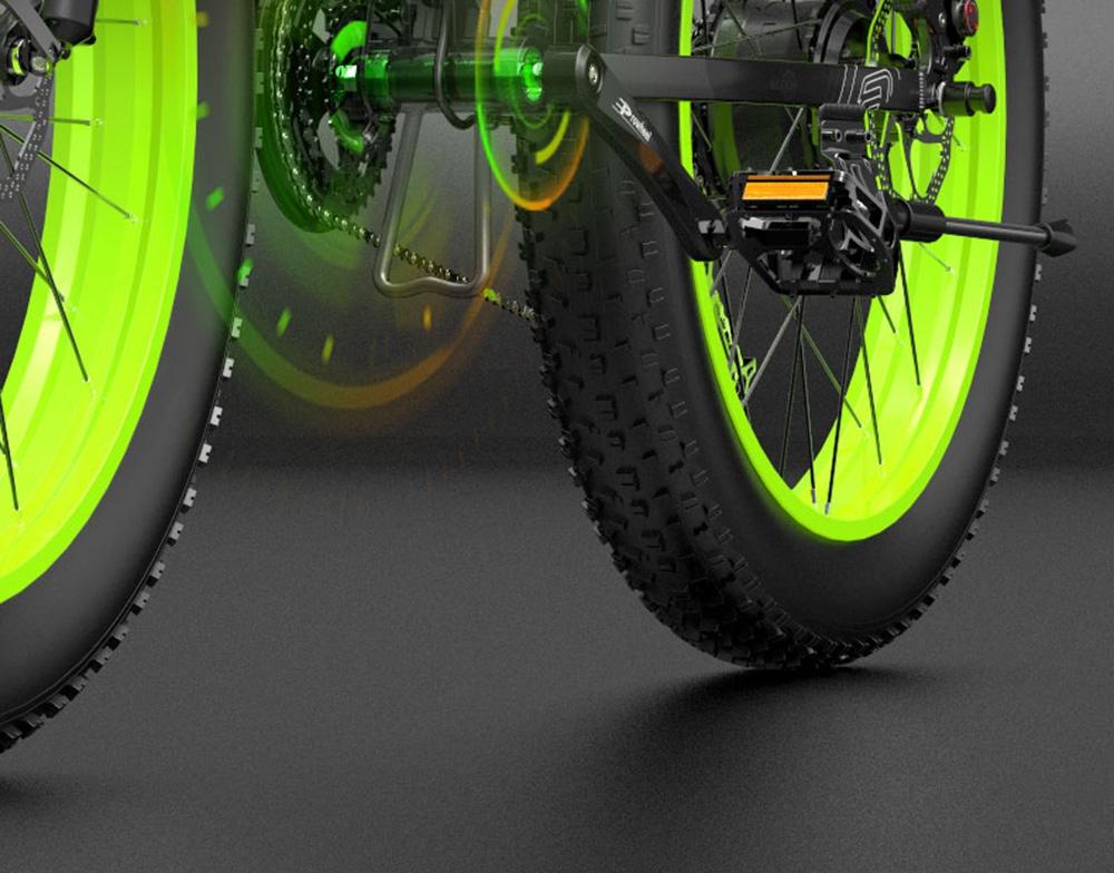 BEZIOR X1000 Vélo Pliant Électrique Vélo Panasonic 48V 12.8Ah 1000W Moteur 26 pouces Gros Pneu Cadre En Alliage D'aluminium Shimano 27 vitesses Shift Vitesse Max 40km / h IP54 100KM Kilométrage Assisté Gamme Écran LCD IP54 Étanche - Noir Vert