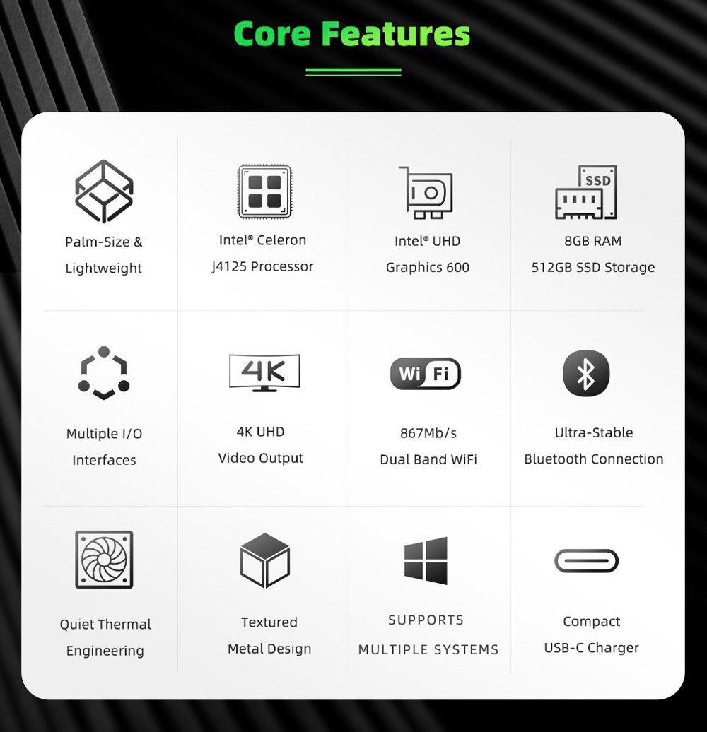GMK NucBox Windows 10 4K Mini PC Intel J4125 Intel HD Graphics 600 8 GB RAM 128 GB SSD 2.4G / 5G WiFi HDMI 2.0
