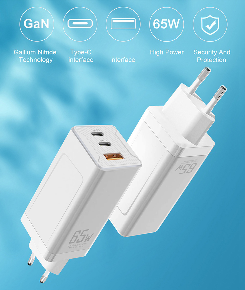 GaN-P60 GaN 65W USB C Charger Quick Charge 3.0 QC3.0 PD3.0 USB-C Type C Fast USB Charger For iPhone 12 Pro Max Macbook -White US Plug