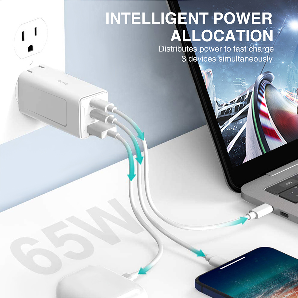GaN-P60 GaN 65W USB C Charger Quick Charge 3.0 QC3.0 PD3.0 USB-C Type C Fast USB Charger For iPhone 12 Pro Max Macbook -White EU Plug
