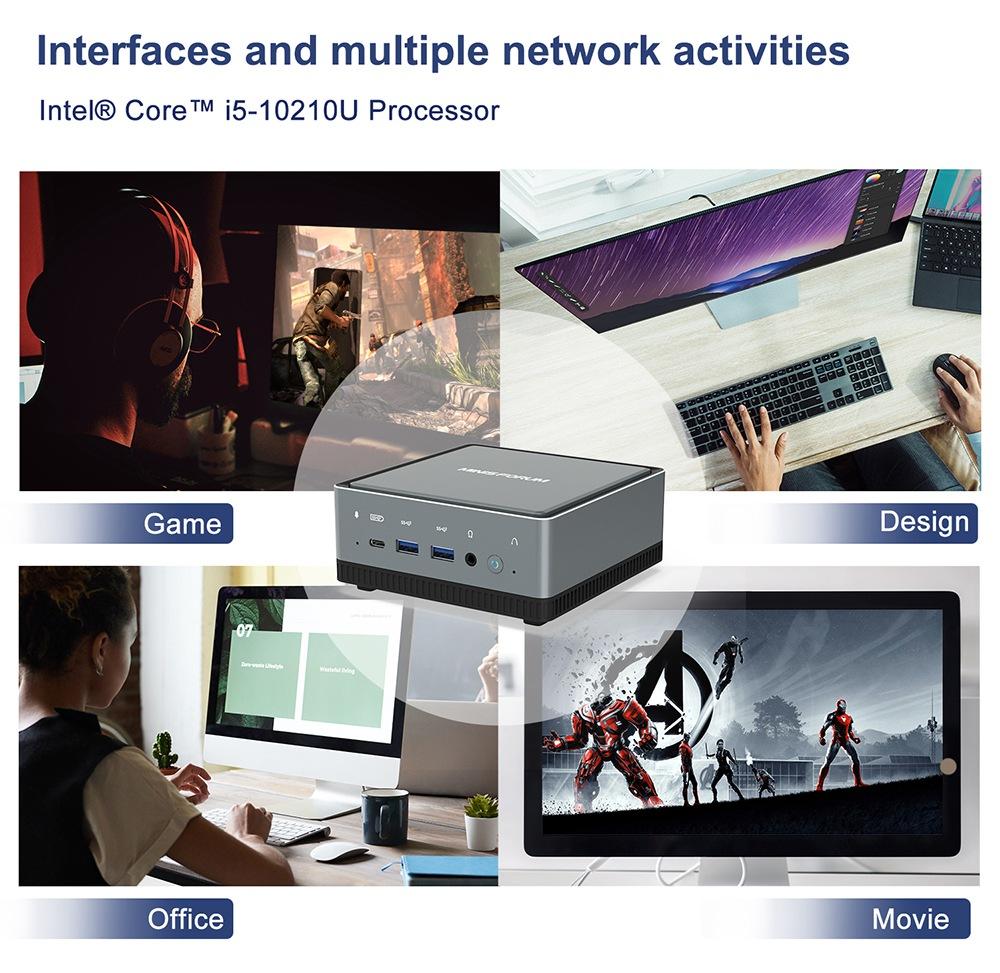 MINISFORUM U850 Intel Core i5-10210U 16 GB RAM 512 GB SSD με άδεια Windows 10 Mini PC WIFI6 2.5G LAN SATA * 2 RJ45 * 2 HDMI DP