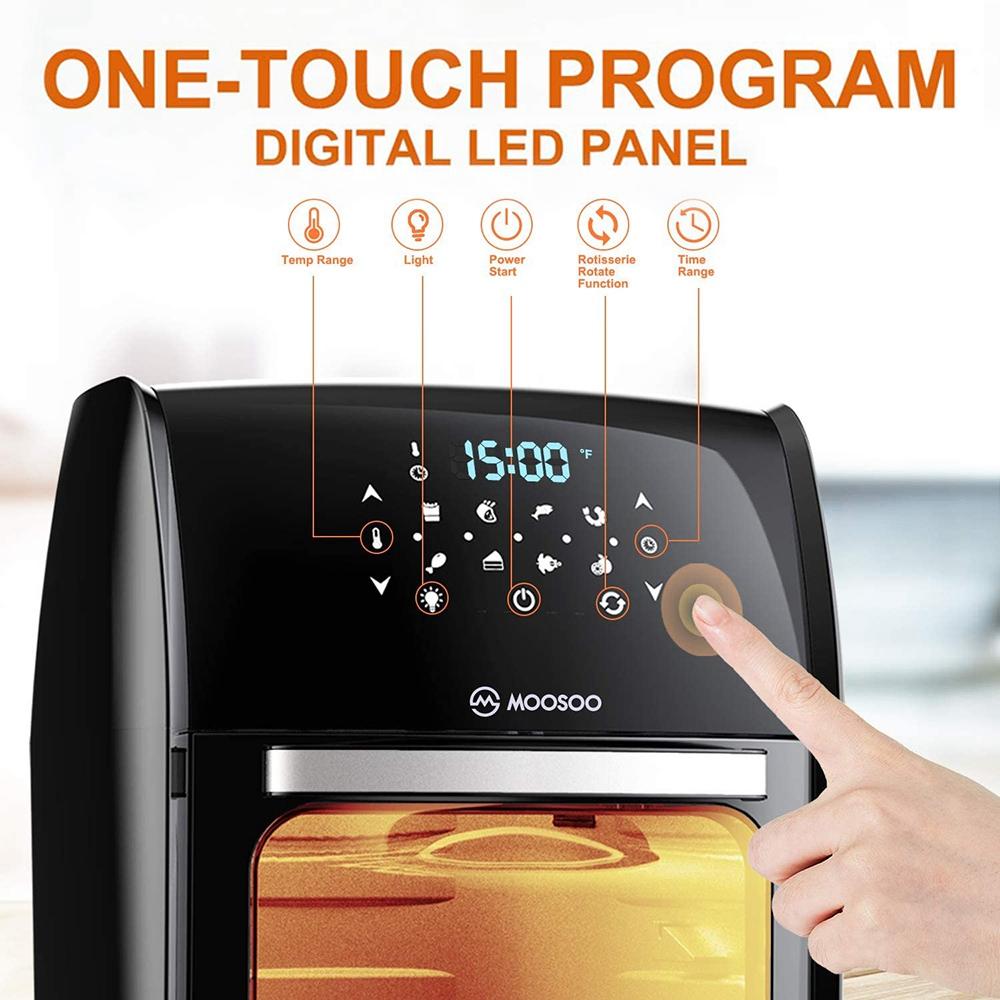 MOOSOO MA30 Multifunctional Air Fryer 1700W Power 12.7QT Capacity 8 Preset Menus LED Digital Touch Screen for Frying, Baking, Dehydrating, Roasting - Black