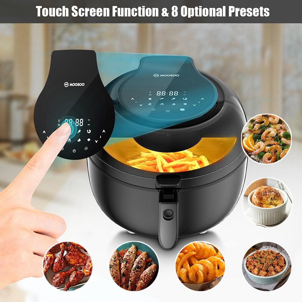 MOOSOO MA20 Multifunctional Air Fryer 1350W Power 7QT Capacity 8 Preset Menus Touch Screen for Frying, Baking, Dehydrating, Roasting - Black