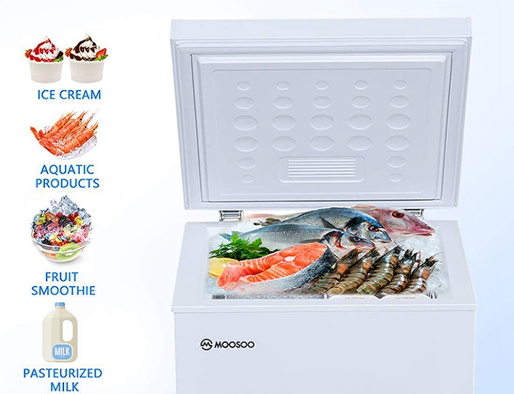 MOOSOO MD35B Freezer 7 Temperature Modes Energy Saving Low Noise With Removable Storage Basket - White