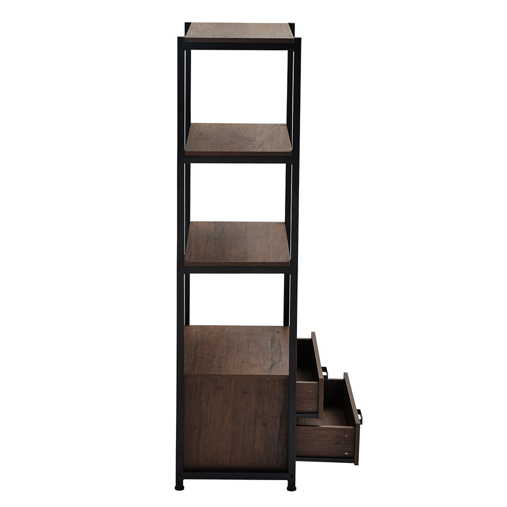 Home Office Standing Bookshelf Storage Cabinet with Four-layer Open Shelf and Two Drawers - Brown