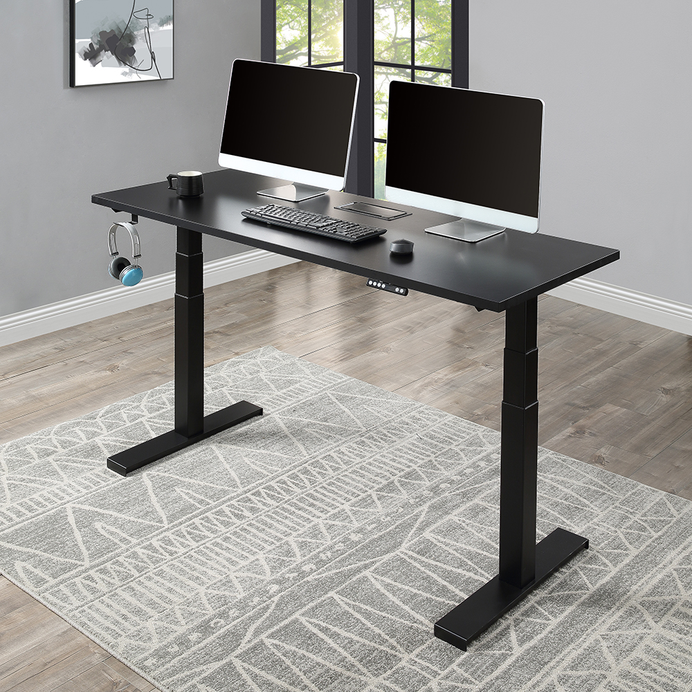 Home Office Standing Computer Desk Height Adjustable Electric Lifting System - Black