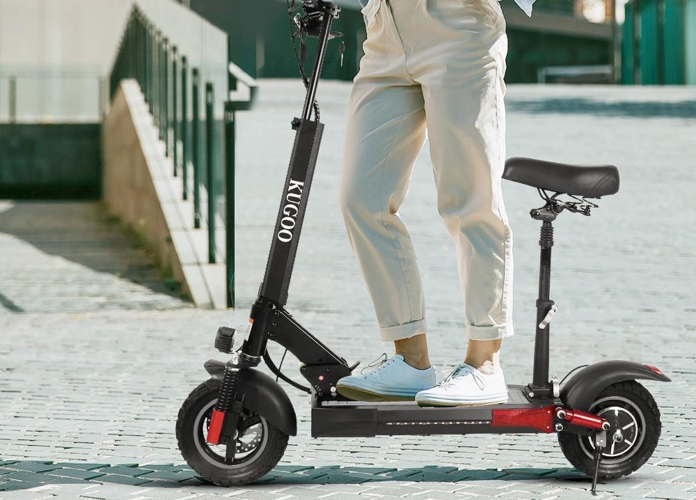 "KUGOO KIRIN M4 PRO Folding Electric Scooter 10"" Off-road tyre 500W Brushless Motor 48V 16Ah Battery 3 Speed Modes Dual Disc Brake Max Speed 45KM/h LED Display 60KM Long Range - Black"