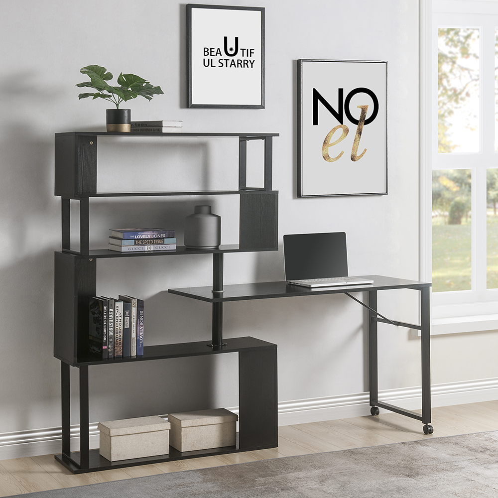 Home Office L-Shaped Rotating Computer Desk, with Five-layer Shelf - Black