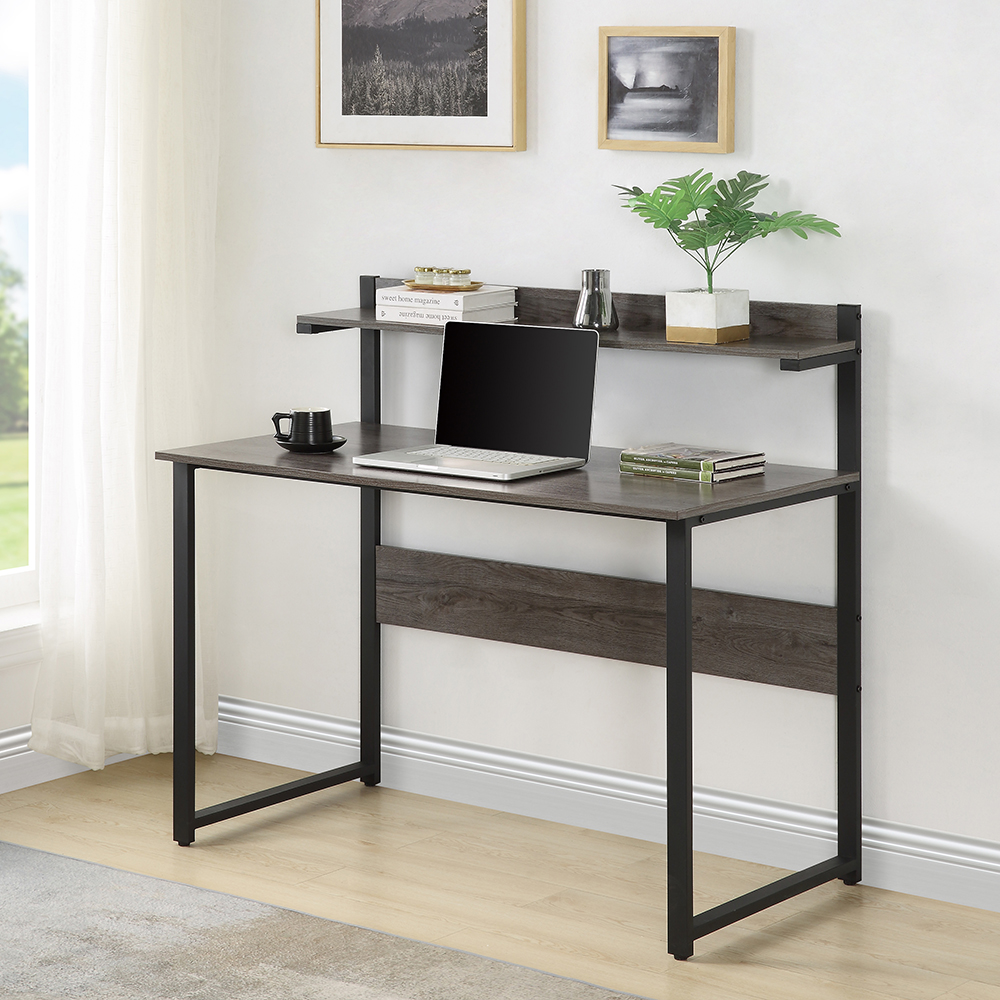 Home Office Multifunctional Computer Desk with Shelf - Brown