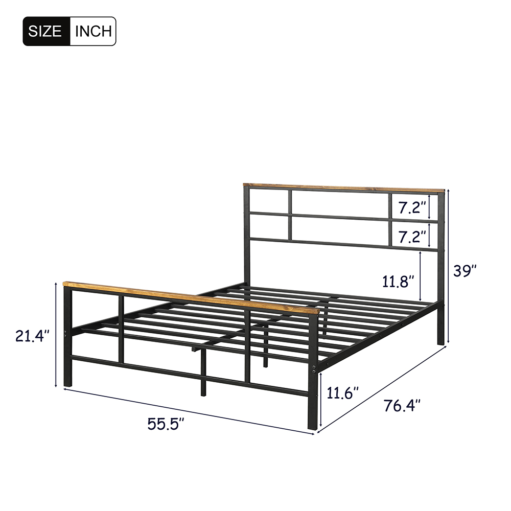 Full Size Metal Bed Frame with Pine Wood Headboard and Footboard - Black