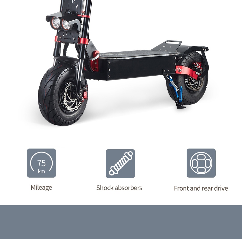 "OBARTER X5 Folding Electric Sport Scooter 13"" Off-road tyre 2800W x2 Brushless Motor 60V 30Ah Battery BMS 3 Speed Modes Oil Disc Brake Max Speed 85KM/h LED Display 65km-75km Long Range - Black"