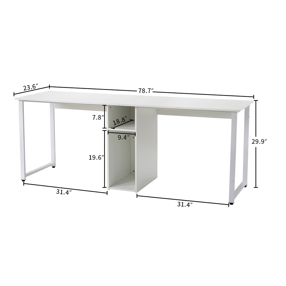 Home Office Dual Person Computer Desk with Two-layer Shelf and Wire Management Grommet - White
