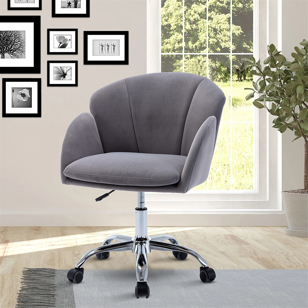 COOLMORE Velvet Swivel Chair Height Adjustable with Curved Backrest and Casters for Living Room, Bedroom, Office - Grey