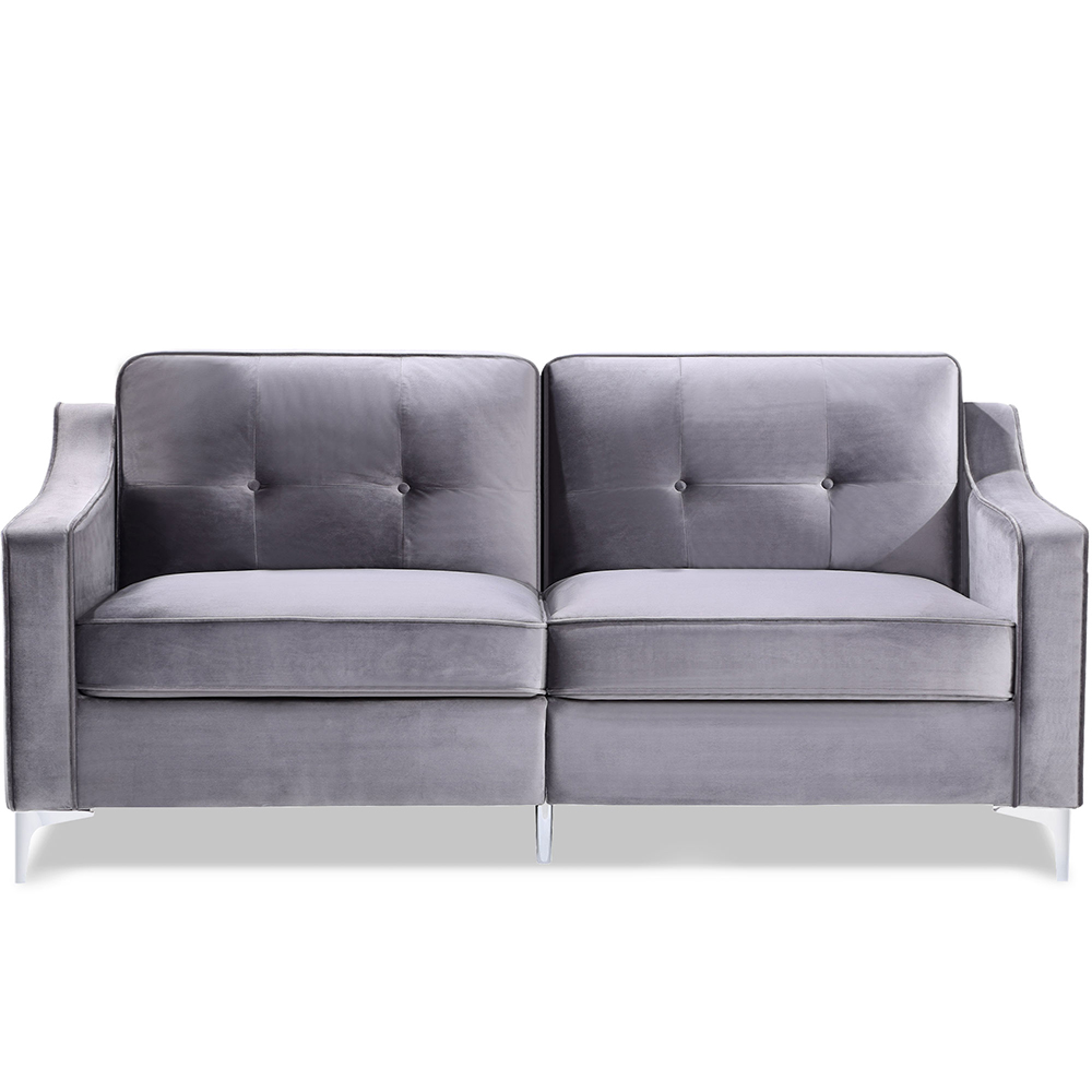 "72"" Velvet Upholstered Sofa Mid-century Modern Design with Armrests and Chrome-plated Metal Legs Suitable for Three People - Gray"