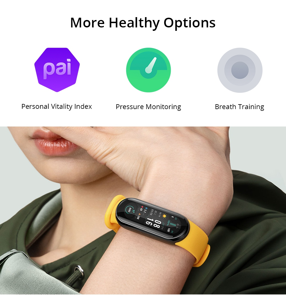 Xiaomi Mi Band 6 Smart Bracelet Heart Rate Oximetry Monitor 1.56 inch Screen Bluetooth 5.0 50 Meters Water Resistance 30 Sports Modes CN Version + 2PCS Protective Screen Film