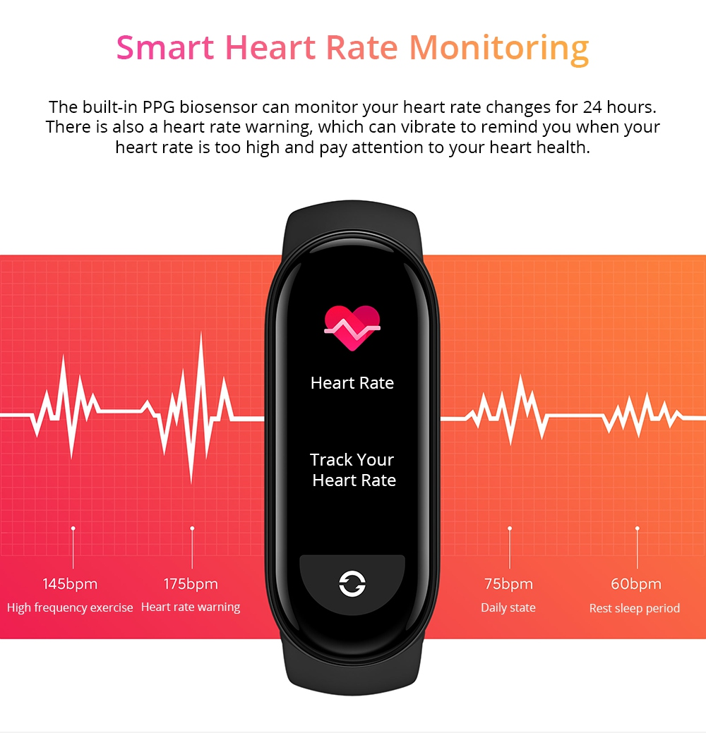 Xiaomi Mi Band 6 Smart Bracelet Heart Rate Oximetry Monitor 1.56 inch Screen Bluetooth 5.0 50 Meters Water Resistance 30 Sports Modes CN Version + Orange Replacement Strap