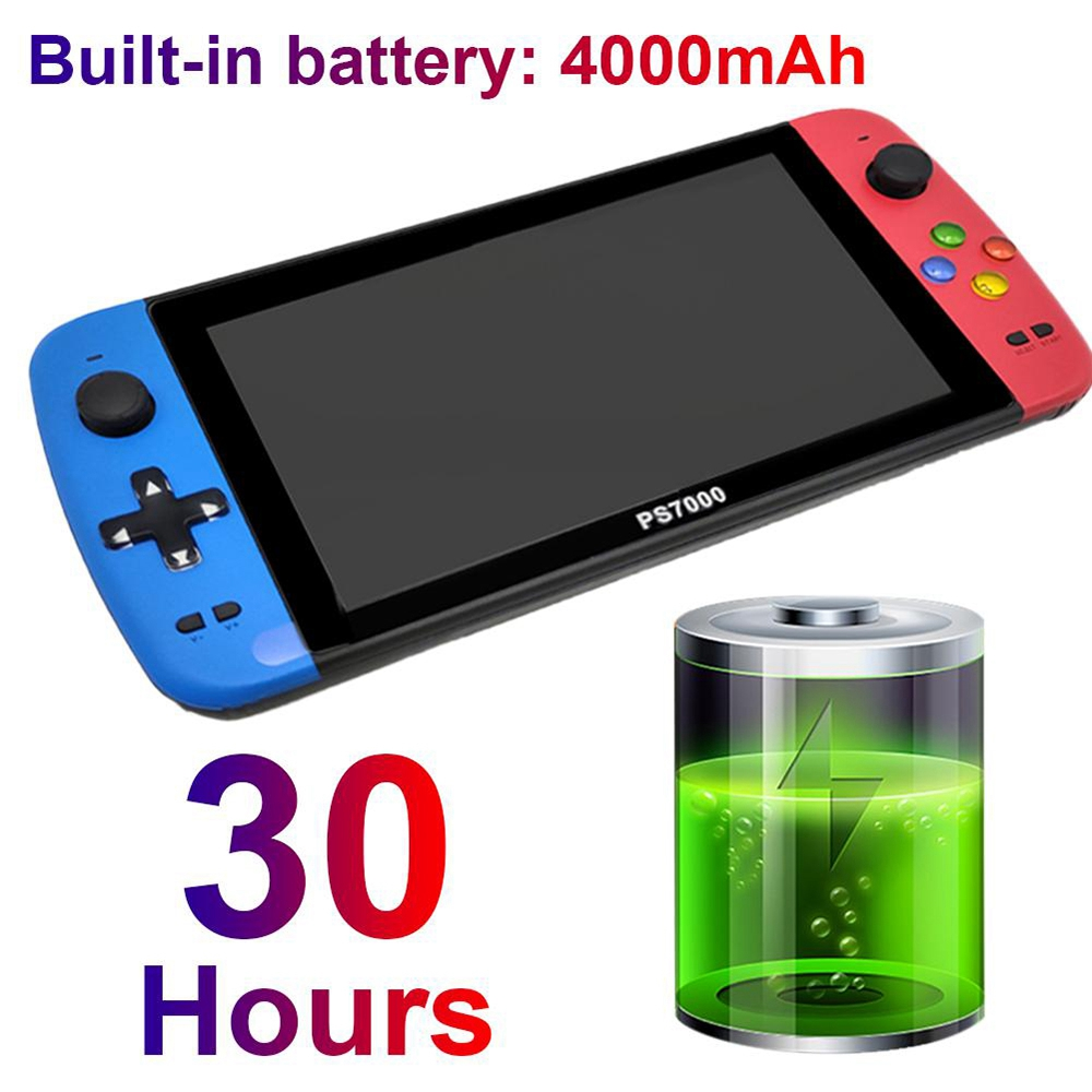 PS7000 7inch Handheld Game Console 16GB 3000+ Games  4000mAh HDMI Interface Supports GB GBA FC SFC