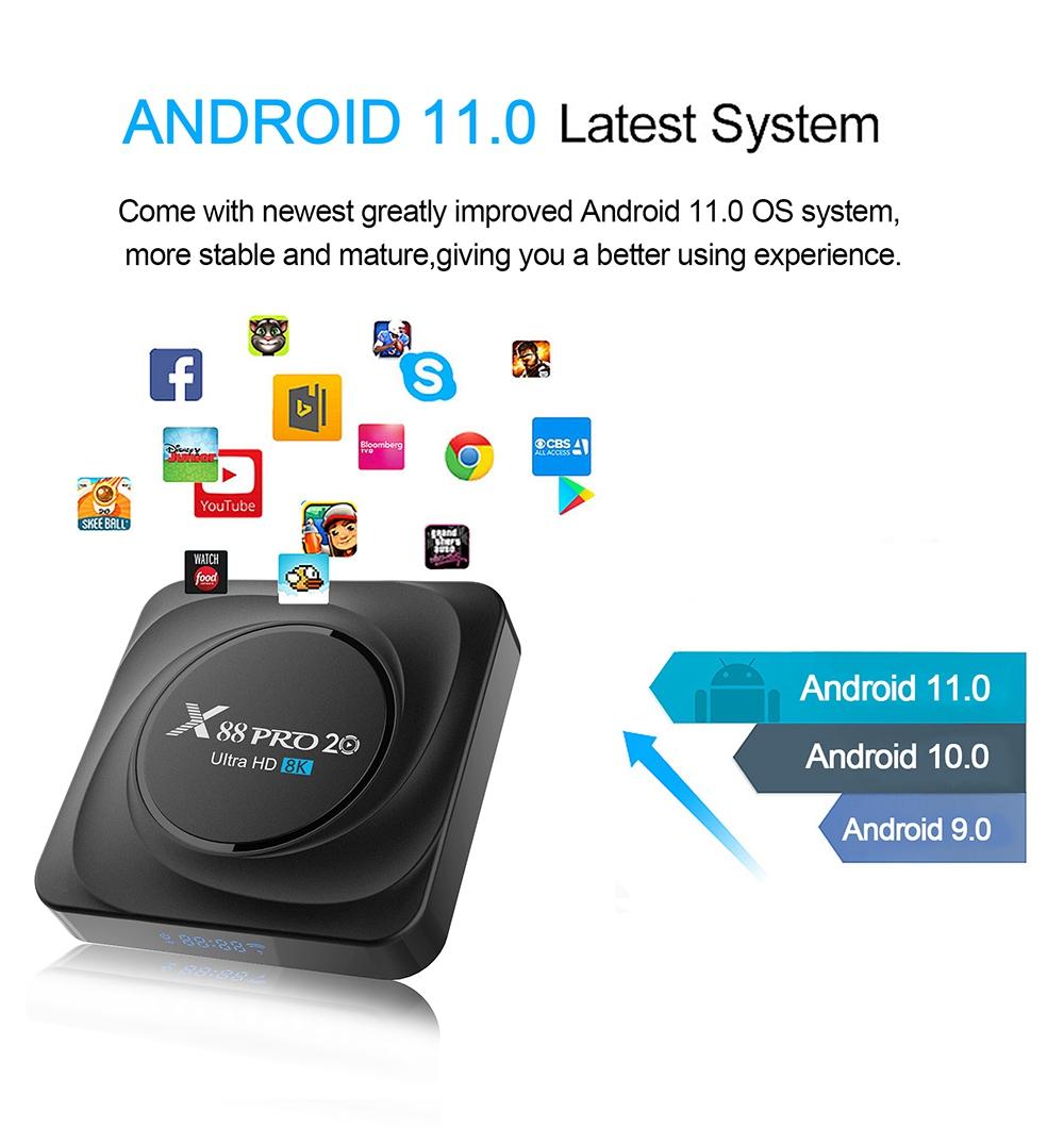 X88 PRO 20 RK3566 Android 11 RK3566 8 GB / 128 GB TV-BOX 1.8 GHz 2.4 G + 5 G WIFI Gigabit LAN Voice-Fernbedienung