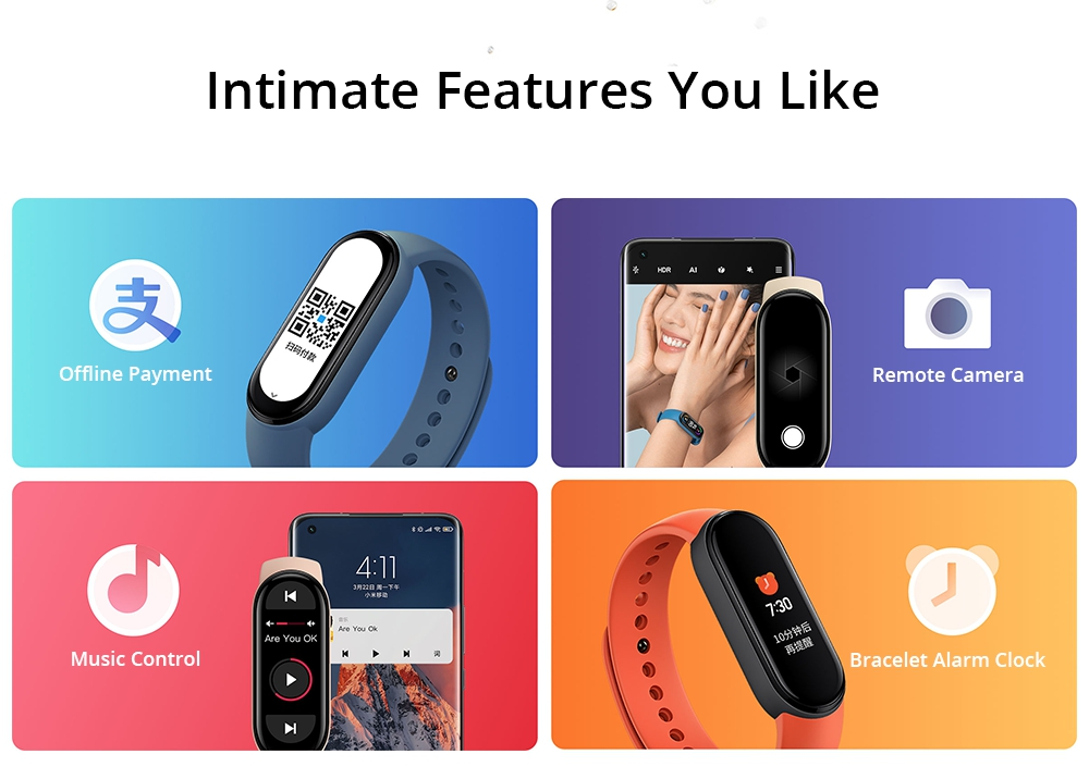 Xiaomi Mi Band 6 Smart Bracelet Heart Rate Oximetry Monitor 1.56 inch Screen Bluetooth 5.0 50 Meters Water Resistance 30 Sports Modes CN Version + Blue Replacement Strap