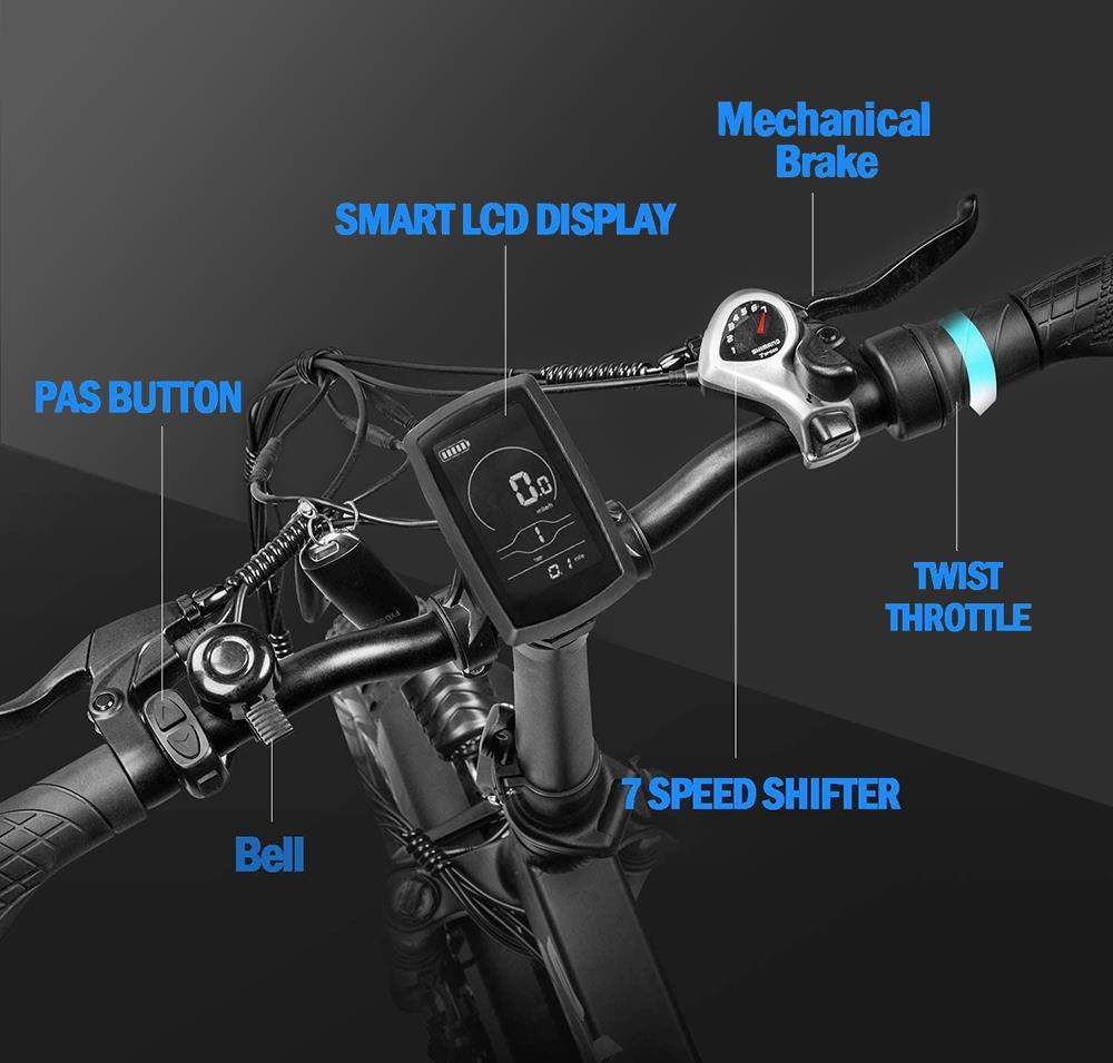 Fafrees F7 Plus 750W CST 20*4.0 Fat Tire Folding Electric Bicycle PANASONIC 48V 13.6Ah Removable Battery Snow Electric Bike for Adults Full Suspension Shimano 7 Speed Gears Max Speed 45km/h Aluminum Alloy Frame Black