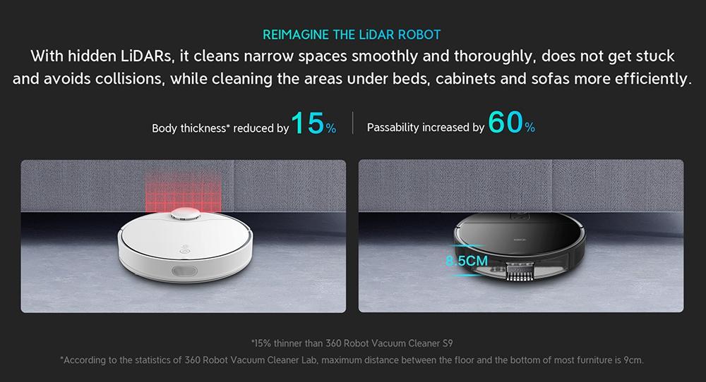 360 S10 เครื่องดูดฝุ่นหุ่นยนต์อัจฉริยะ 3300Pa เครื่องดูดฝุ่นดูดที่เหนือกว่า กวาดถู 3 ใน 1 LiDARs การนำทาง 3D หลีกเลี่ยงอุปสรรค UItra-slim Design 5000mAh แบตเตอรี่ Alexa Google Assistant Clova APP รีโมทคอนโทรลสำหรับสัตว์เลี้ยง ขนพรมและพื้นแข็ง - สีดำ