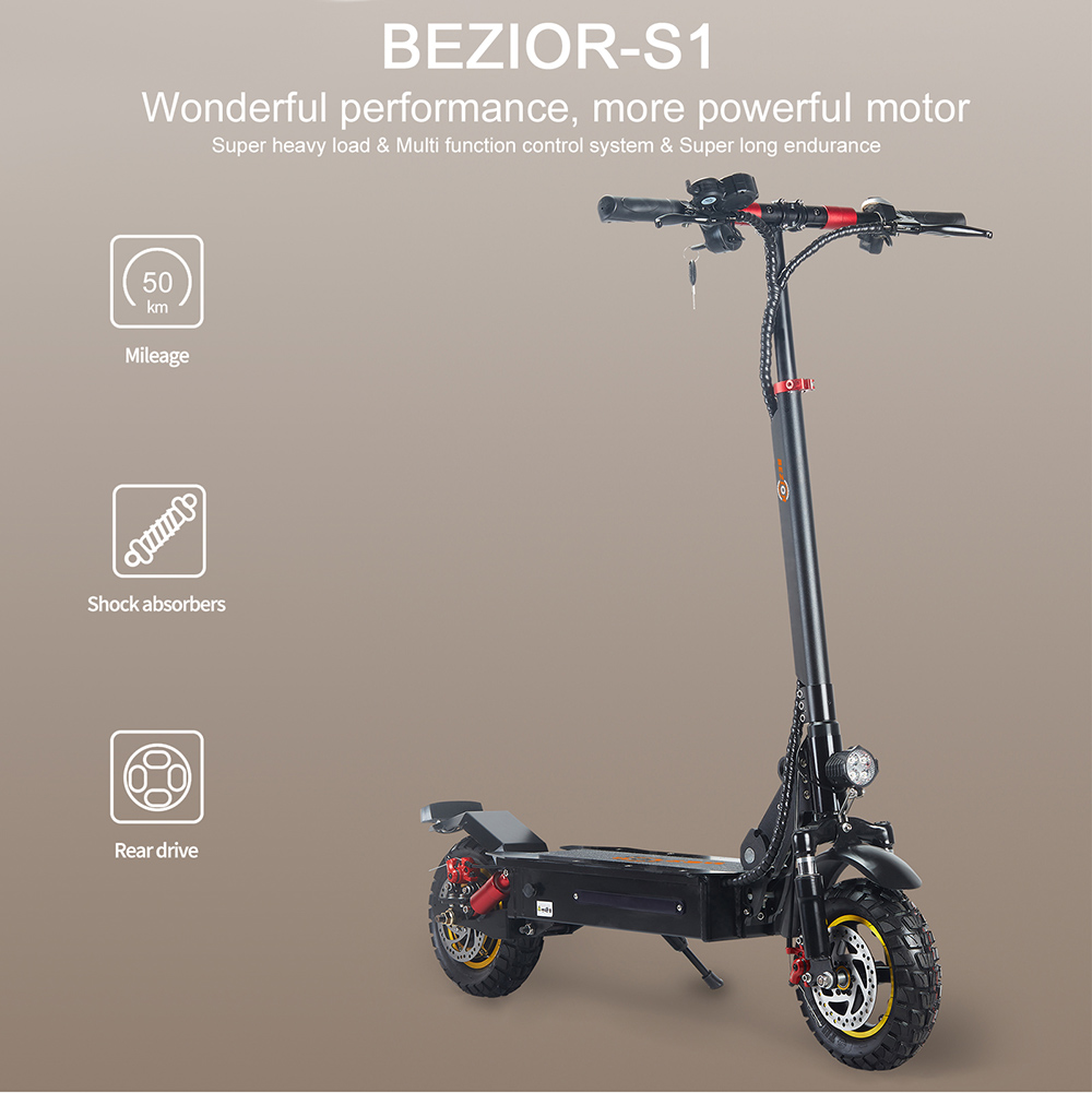 BEZIOR S1 Off-Road Electric Scooter 13Ah Battery 1000W Motor up to 50KM Travel mileage 10 inch Wheel 45Km/h Disk Brake aluminum alloy Body - Black