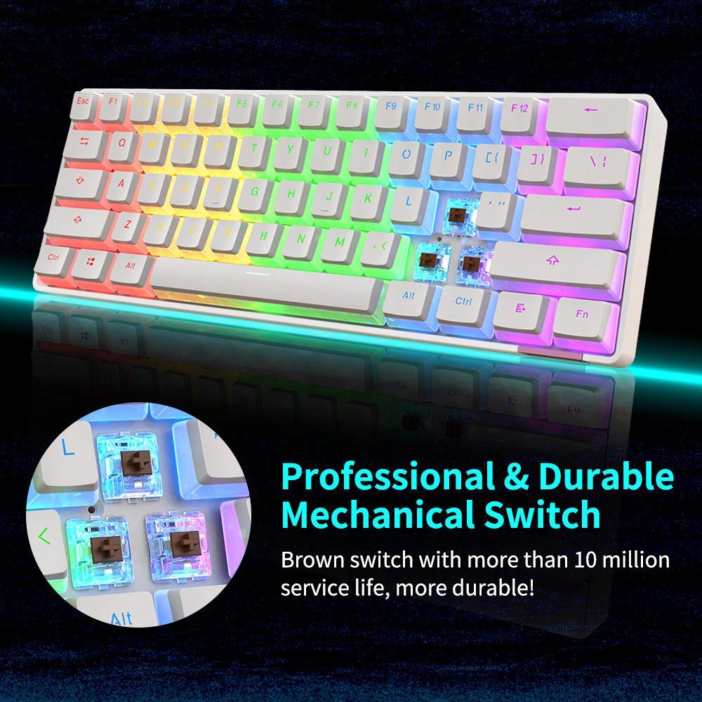 Ajazz STK61 61key Pudding Keycap سلكي / بلوتوث مزدوج الوضع الأحمر التبديل متعدد الألوان الخلفية لوحة مفاتيح ميكانيكية - أبيض
