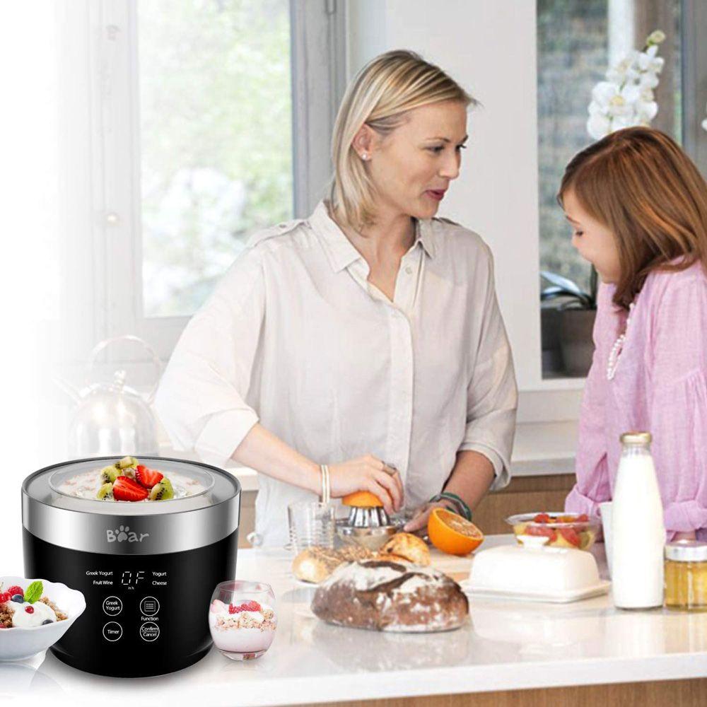 Bear Multi-Function Yogurt Maker Stainless Steel Inner Pot LED Digital Display with Timer and Filter - Black