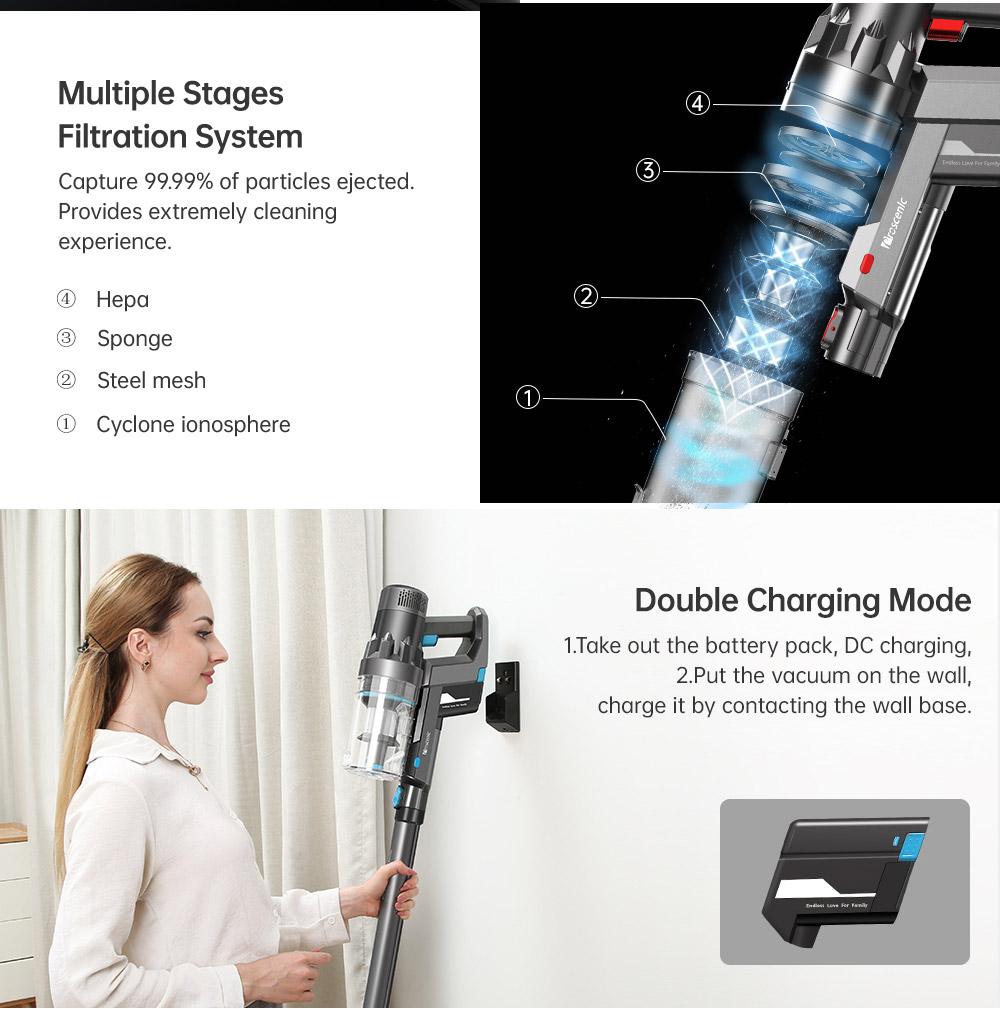 Aspirateur sans fil portable Proscenic P11 Combo 25000pa 450W Aspirateur 2 en 1, écran tactile, batterie 2500mAh amovible et rechargeable, aspirateur léger pour sols durs, tapis, poils d'animaux - Gris