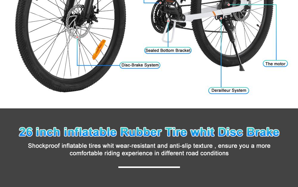 BEZIOR M26 Folding Electric Bike 48V 10Ah Battery 500W Brushless Motor 26 inch Tire Aluminum Alloy Frame Shimano 7-speed Shift Max Speed 30km/h LCD Meter Disk Brake - White