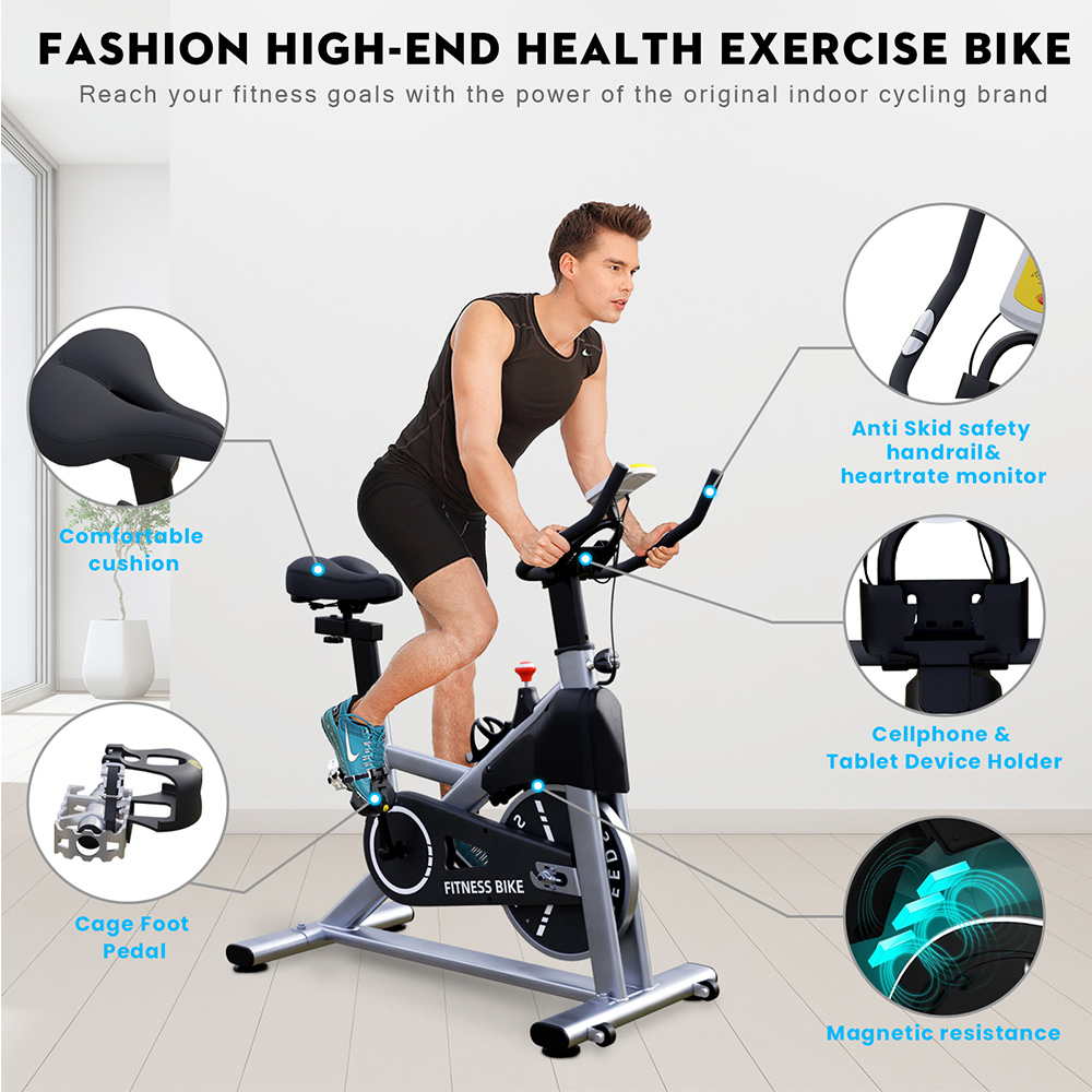 Hapichil SB001-B Spinning Bike Cycling Exercise Fitness Bike Magnetic Resistance & Heavy Flywheel Smooth Quiet Adjustable Height for Indoor Workout - Silver