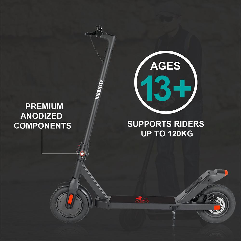 NIUBILITY N2 Electric Scooter 10Ah Battery 350W Motor 27-32KM Travel mileage 10 inch Wheel 25Km/h Disk Brake aluminum alloy Body - Black