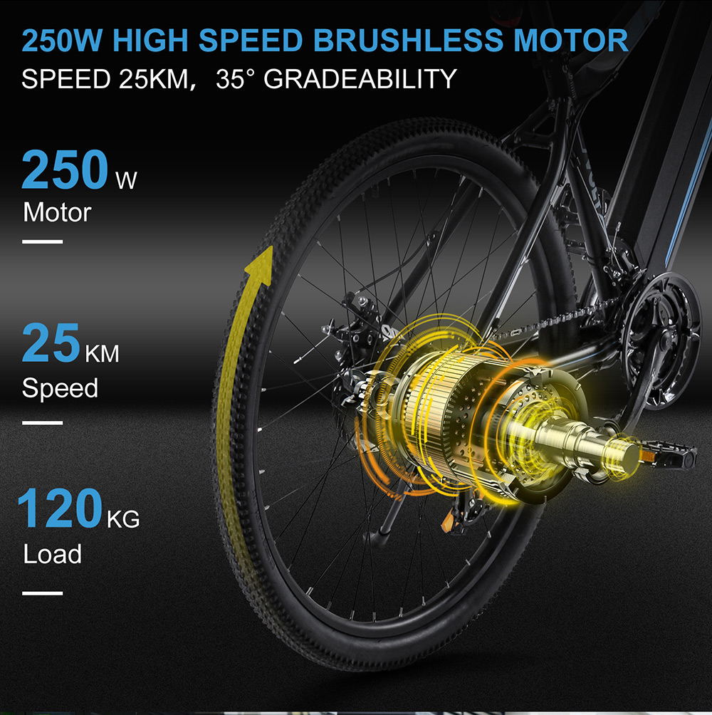 BEZIOR M1 Electric Bike 48V 12.5Ah Battery 250W Brushless Motor 27.5 inch Tire Aluminum Alloy Frame Shimano 7-speed Shift Max Speed 25km/h 80KM Power-assisted mileage Range 5 inch Smart LCD Meter IP54 Waterproof - Black Blue