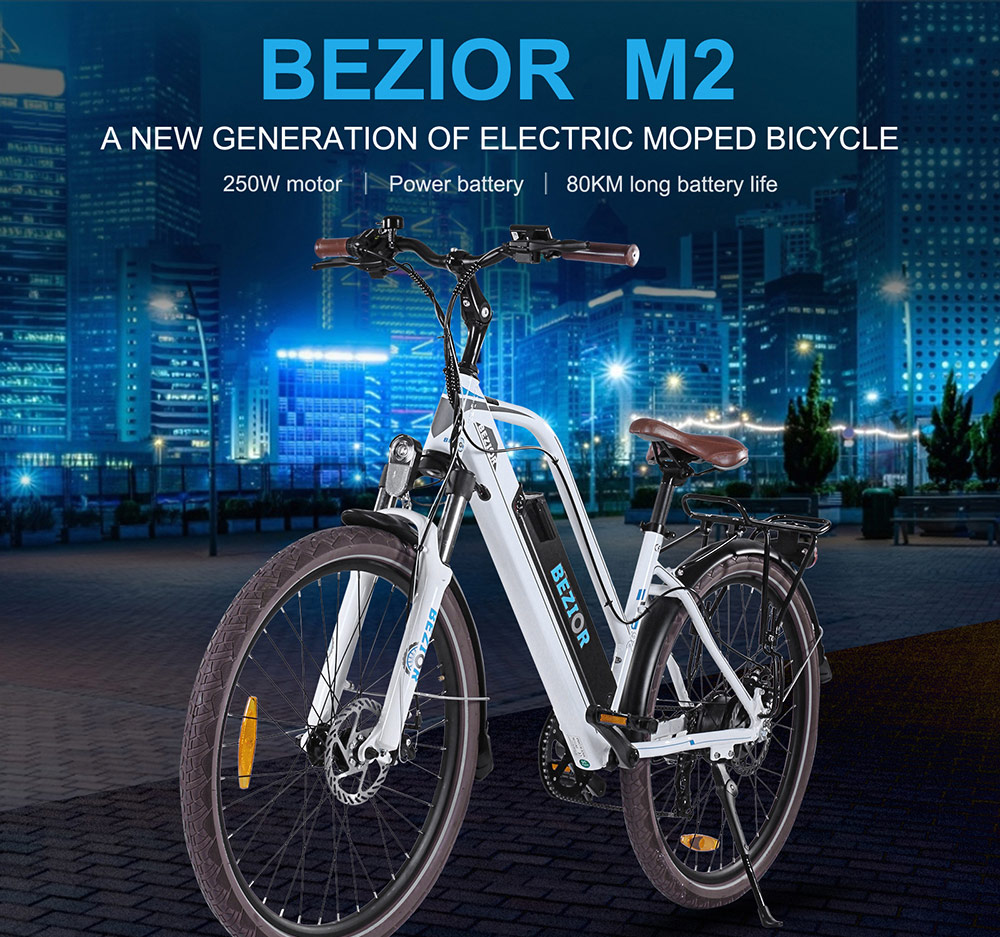 BEZIOR M2 Electric Bike 48V 12.5Ah Battery 250W Brushless Motor 26 inch Tire Aluminum Alloy Frame Shimano 7-speed Shift Max Speed 25km/h 80KM Power-assisted mileage Range 5 inch Smart LCD Meter - White