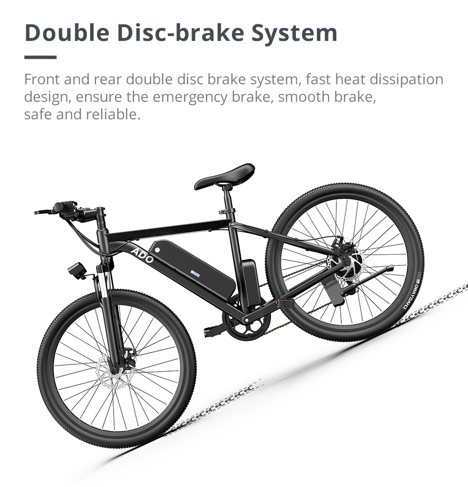 ADO A26 Electric Folding Bike 26 inch  Mountain bike 500W Hall Brushless Motor SHIMANO 7-Speed Derailleur 36V 7.8Ah Removable Battery 35km/h Max speed up to 35km Max Range IPX5 Aluminum alloy Frame - Black