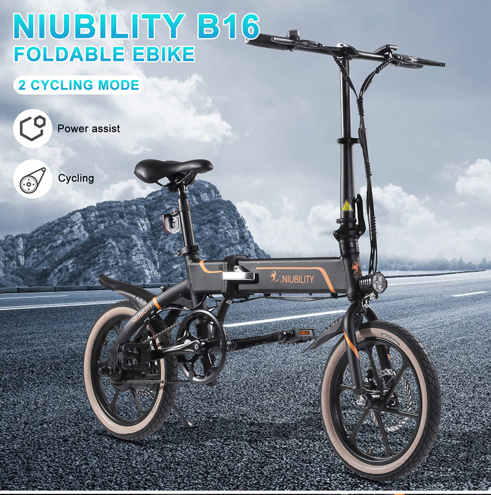 NIUBILITY B16 Electric Moped Folding Bike 16 inch 42V 10.4Ah Battery 40km -50km Mileage 350W Motor Max 25km/h  Double Disc Brake Variable Speed System LED Light - Black