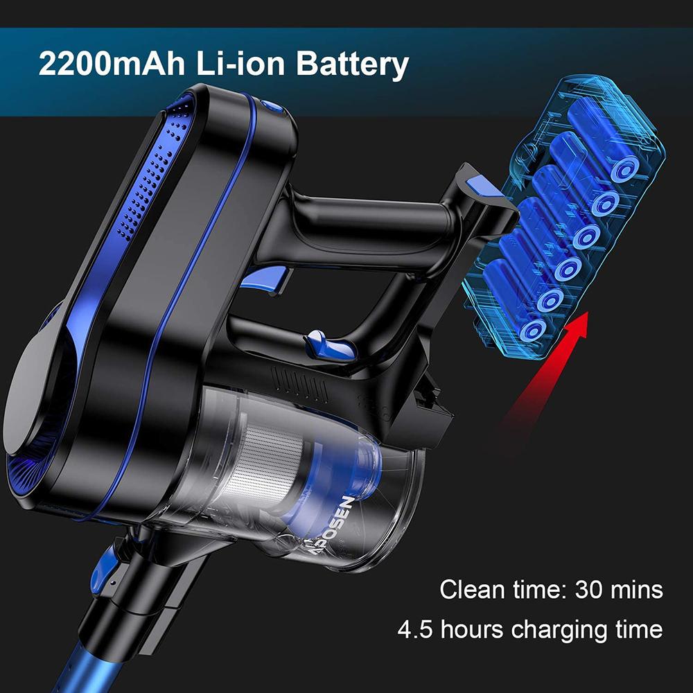 APOSEN H251 Cordless Vacuum Cleaner 250W Brushless Motor 24000pa Suction 2200mAh Battery 30 Minutes Run Time - Blue + Black