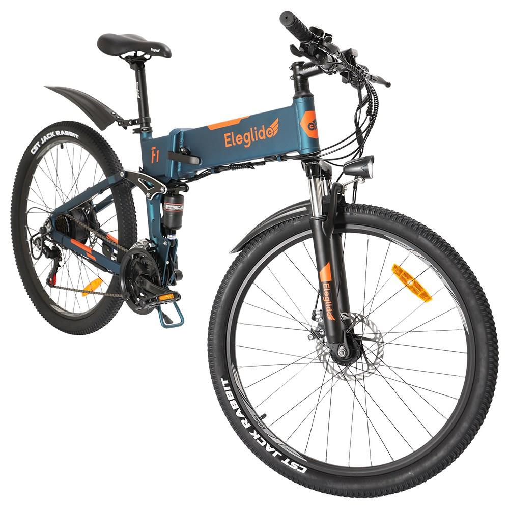 ELEGLIDE F1 Folding Electric Bike 26 inch Fat Tire Mountain Bicycle 250W Hall Brushless Motor SHIMANO Shifter 21 Speeds 36V 10.4Ah Removable Battery 25km/h Max speed up to 85km Max Range Full-Suspension IPX4 Waterproof Aluminum alloy Frame Dual Disk Brake - Dark Blue